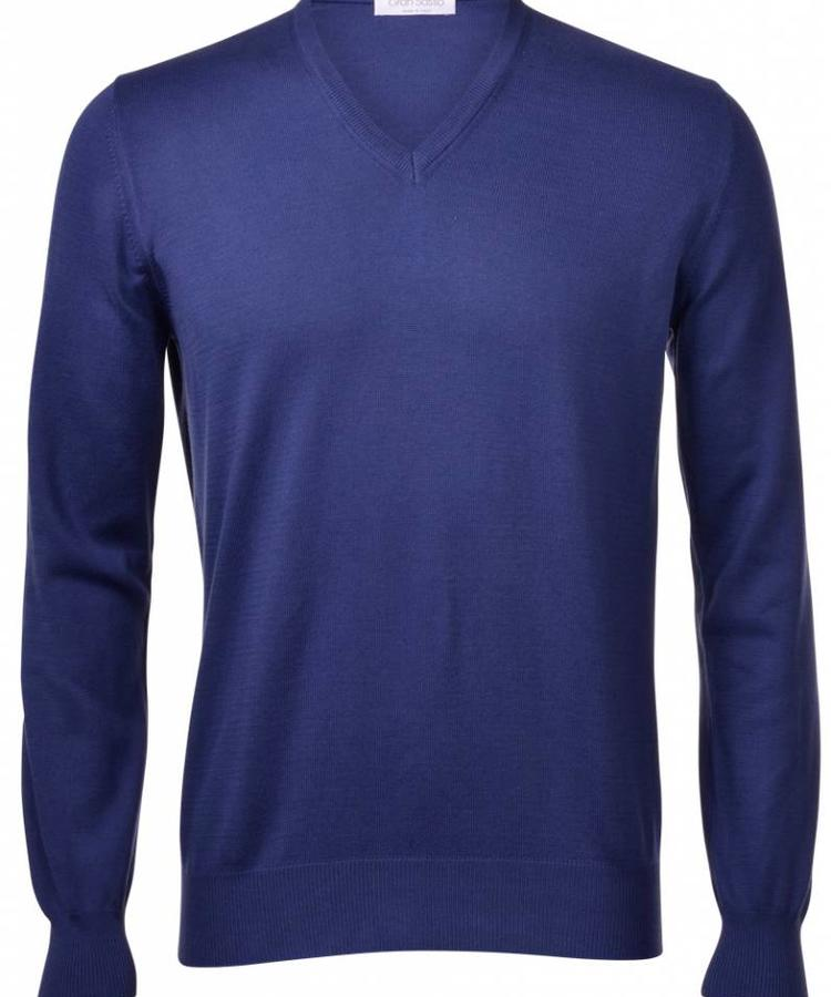 GRAN SASSO GRAN SASSO ROYAL BLUE WOOL V-NECK PULLOVER