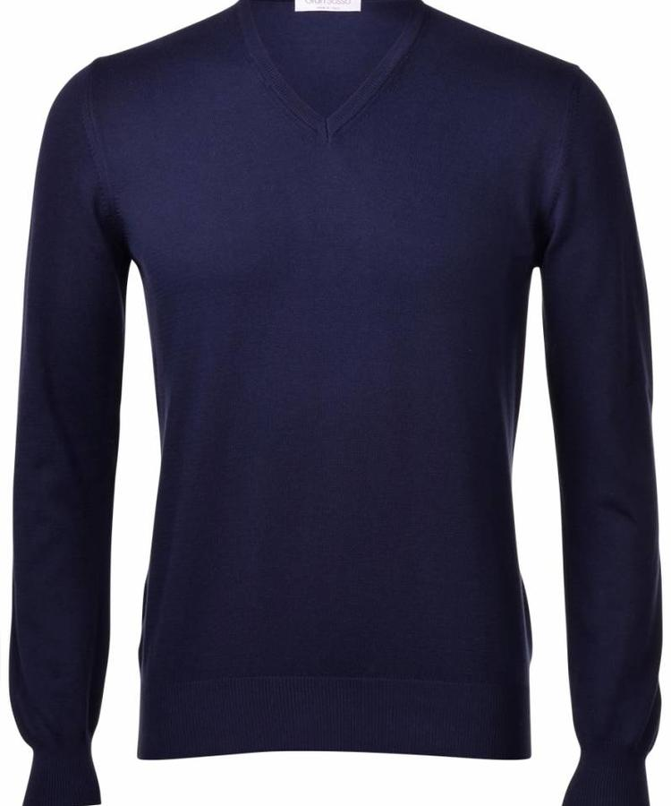 GRAN SASSO GRAN SASSO MIDNIGHT BLUE WOOL V-NECK PULLOVER