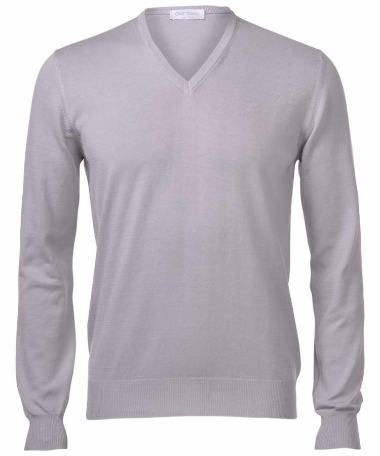GRAN SASSO GRAN SASSO LIGHT GREY WOOL V-NECK PULLOVER