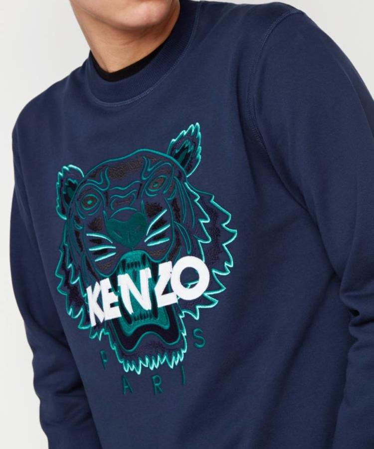 KENZO KENZO NAVY BLUE SWEATER WITH GREEN TIGER LOGO