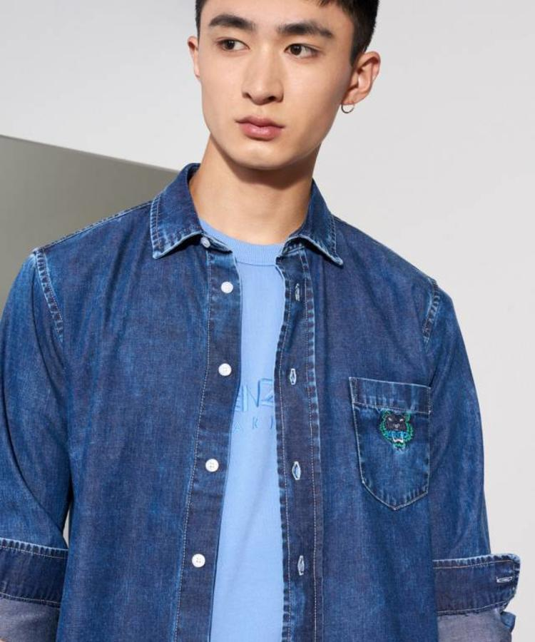 KENZO KENZO DENIM OVERSHIRT WITH GREEN TIGER LOGO