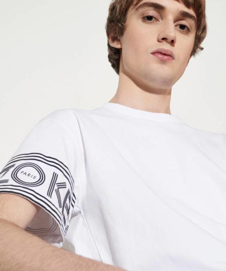 KENZO KENZO GREY AND WHITE CREWNECK T-SHIRT