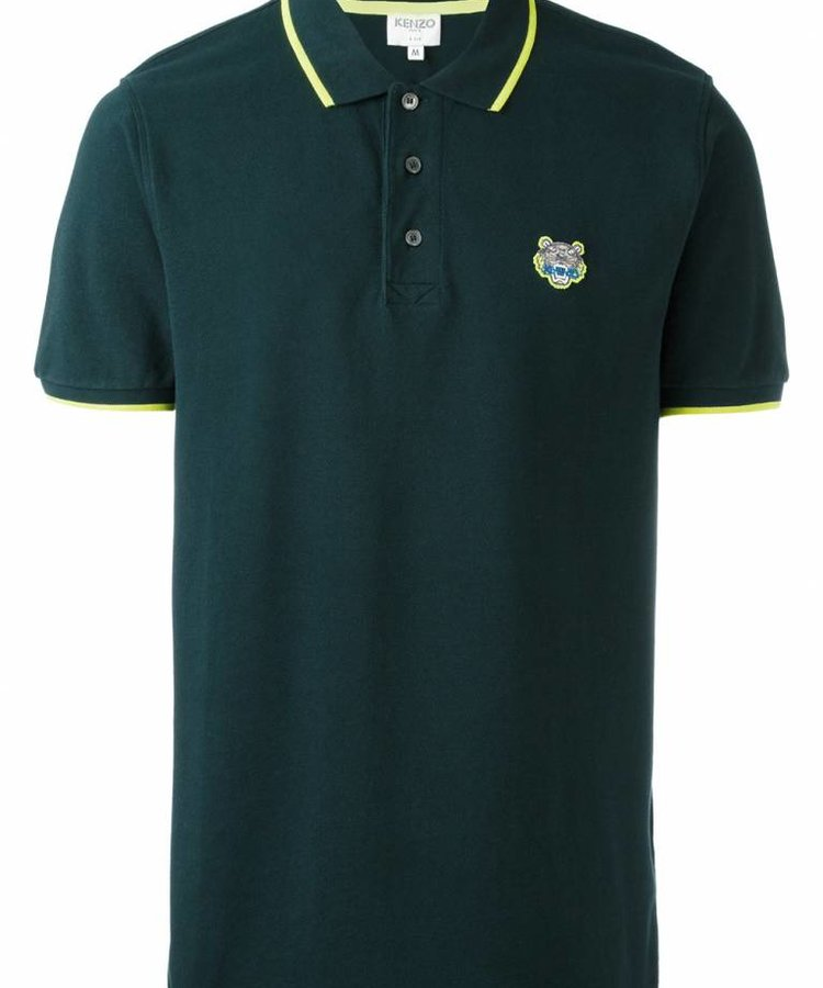 KENZO KENZO FOREST GREEN AND YELLOW TIGER POLO