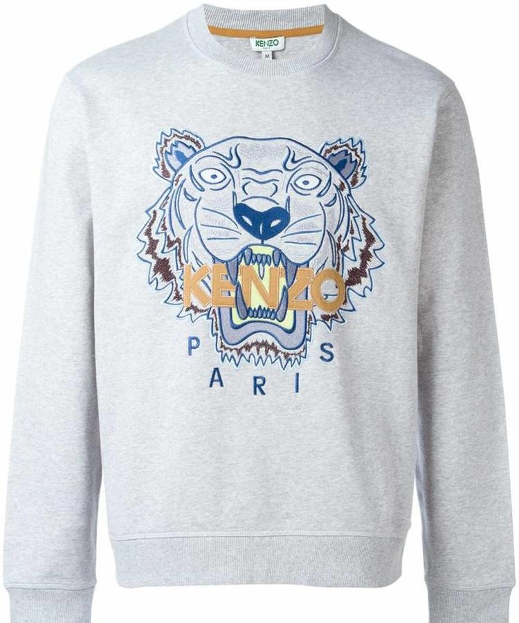 KENZO KENZO GREY SWEATER WITH BLUE AND BROWN TIGER LOGO
