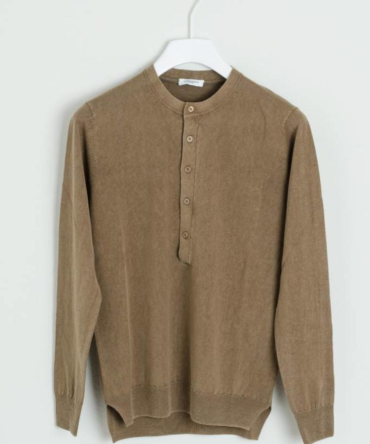 PAOLO PECORA PAOLO PERCORA LINNEN AND COTTON CREWNECK SHIRT