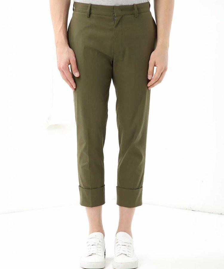 PAOLO PECORA PAOLO PECORA ARMY GREEN  SLIMFIT COTTON BLEND PANTS