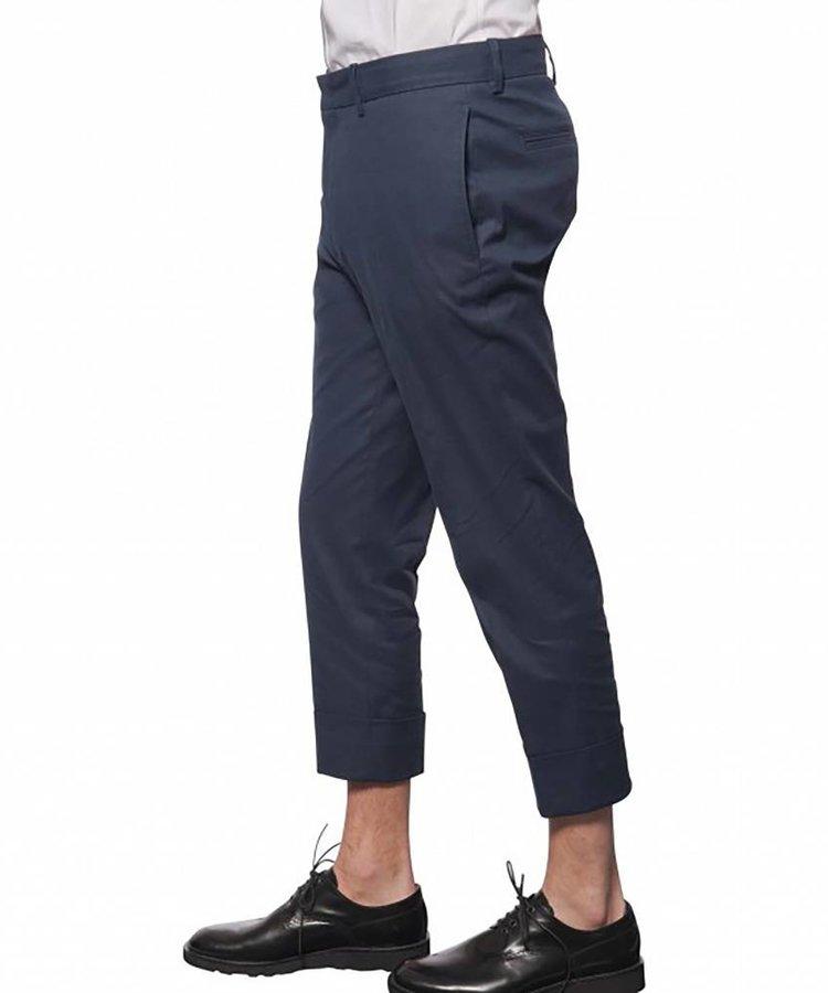 PAOLO PECORA PAOLO PECORA BLUE CAPRI FIT COTTON BLEND PANTS