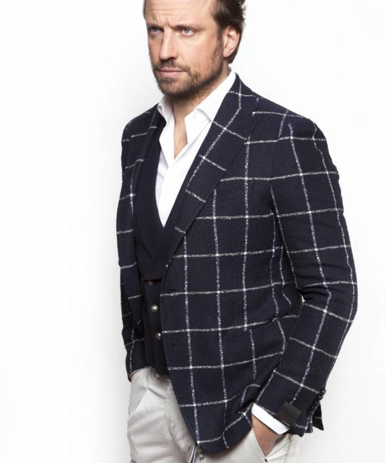 TAGLIATORE TAGLIATORE LINEN CHECKED WHITE AND BLUE BLAZER