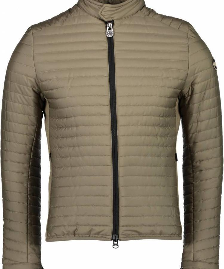 COLMAR COMAR MEN'S DOWN PADDED BIKER JACKET IN STRETCH FABRIC  KAKI