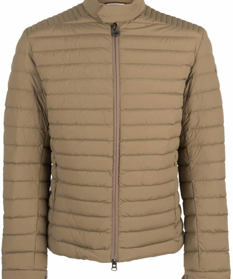 COLMAR COLMAR MEN'S DOWN PADDED BIKER JACKET IN STRETCH FABRIC WITH A HIGH NECK KAKI