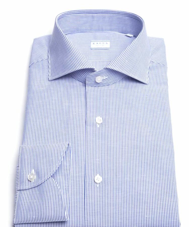 XACUS XACUS COTTON AND LINEN PINSTRIPE BLUE TRAVEL SHIRT