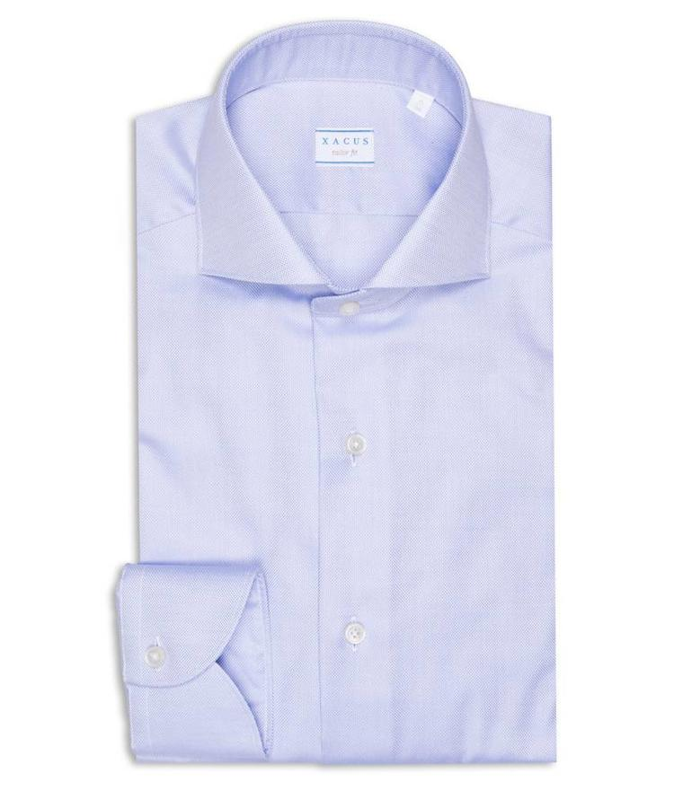 XACUS XACUS LIGHT BLUE TRAVEL OXFORD COTTEN SHIRT