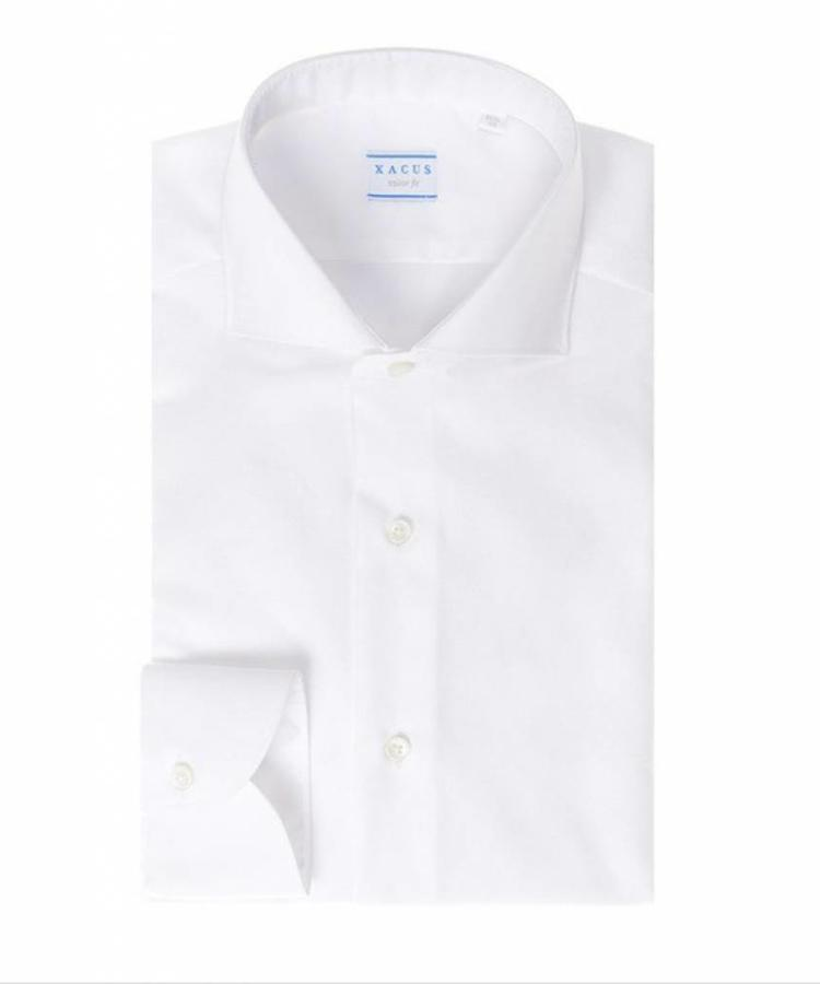 XACUS XACUS WHITE TAILOR FIT COTTON AND LINEN TRAVEL SHIRT