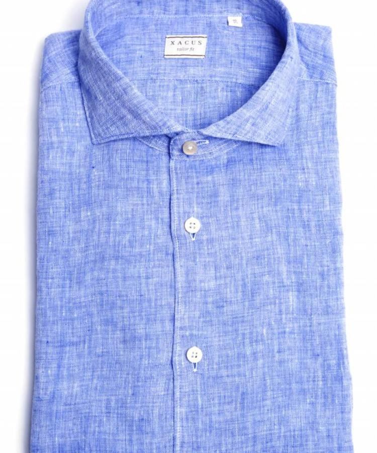 XACUS XACUS OCEAN BLUE WASHED LINEN SHIRT
