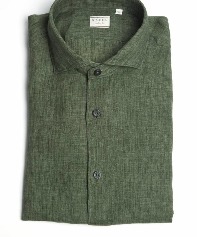 XACUS XACUS FOREST GREEN WASHED ALBINI LINEN SHIRT
