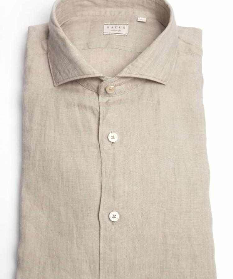 XACUS XACUS DESERT GREY WASHED LINEN SHIRT