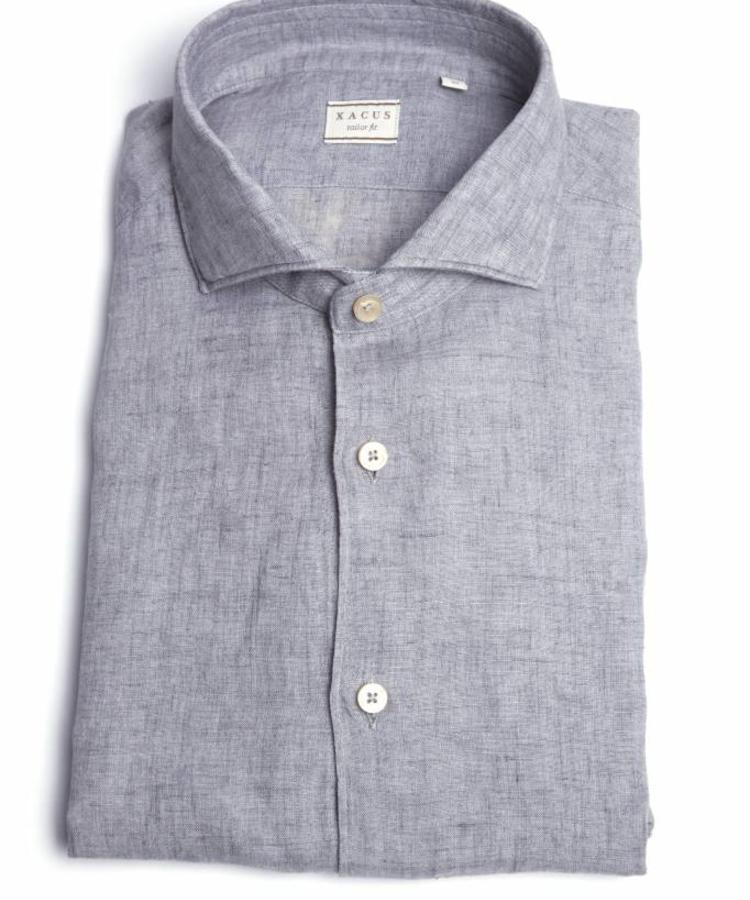 XACUS XACUS GREY WASHED ALBINI LINEN SHIRT
