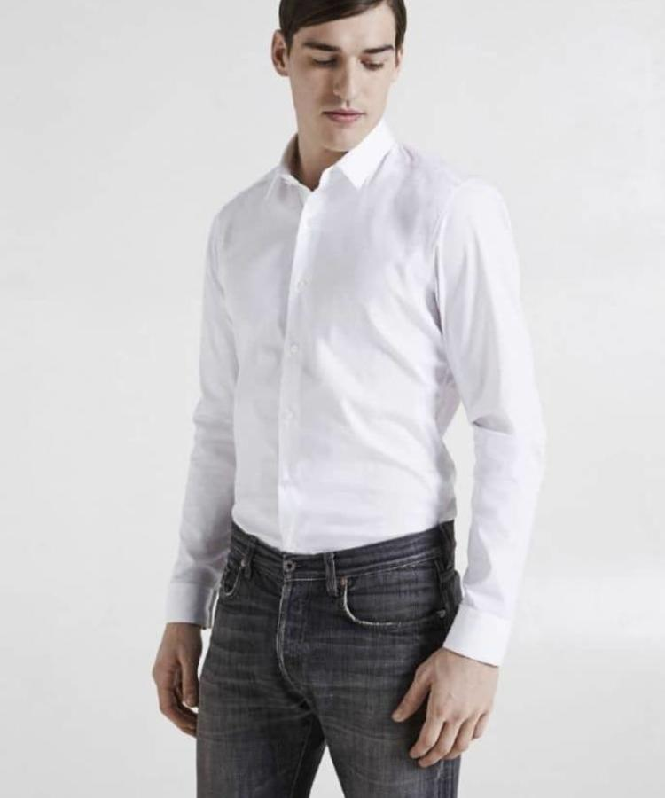 XACUS XACUS WHITE SLIM FIT STRETCH COTTON BLEND POPLIN SHIRT