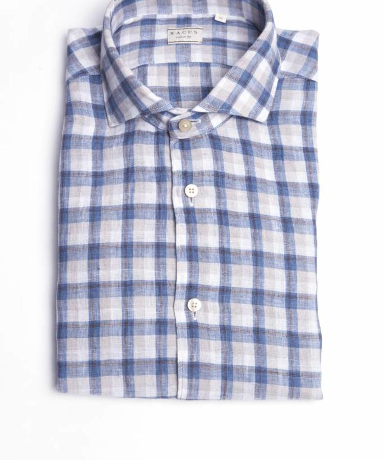 XACUS XACUS BEIGE CHECKED WASHED LINEN SHIRT