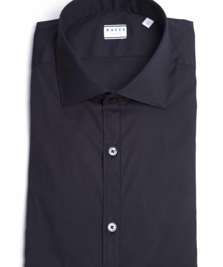 XACUS XACUS BLACK SLIM FIT STRETCH SHIRT
