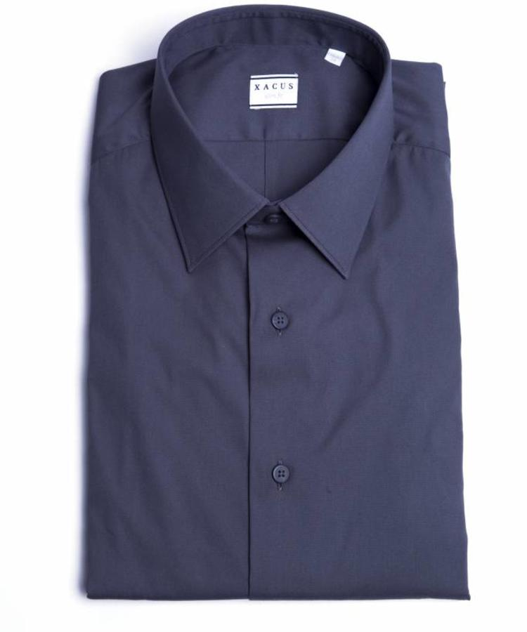 XACUS XACUS DARK BLUE SLIM FIT STRETCH SHIRT