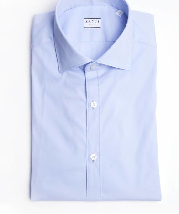 XACUS XACUS LIGHT BLUE SLIM FIT STRETCH SHIRT
