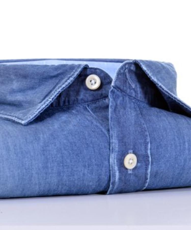 XACUS XACUS WASHED BLUE COTTON DENIM SHIRT