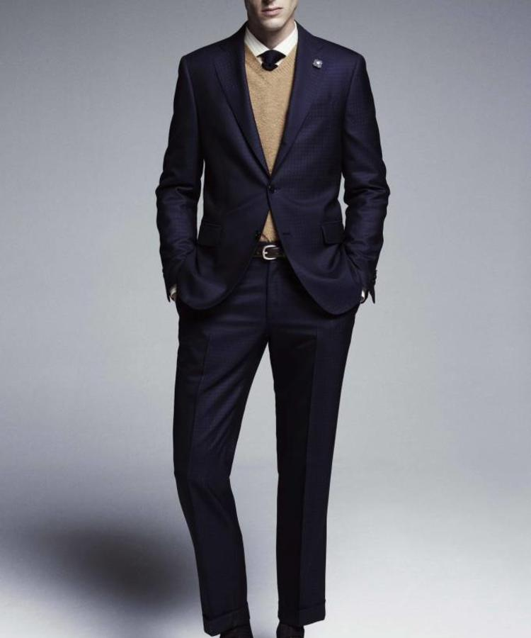LARDINI LARDINI DARK BLUE WOOL & STRETCH SUIT