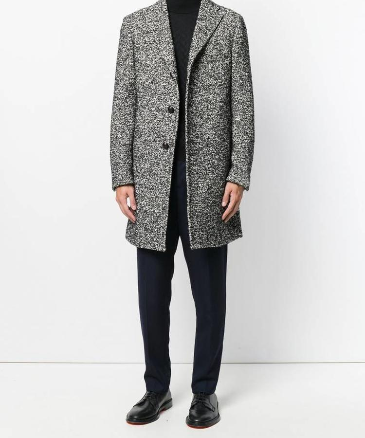 TAGLIATORE TAGLIATORE BLACK KNITTED SILK OVERCOAT