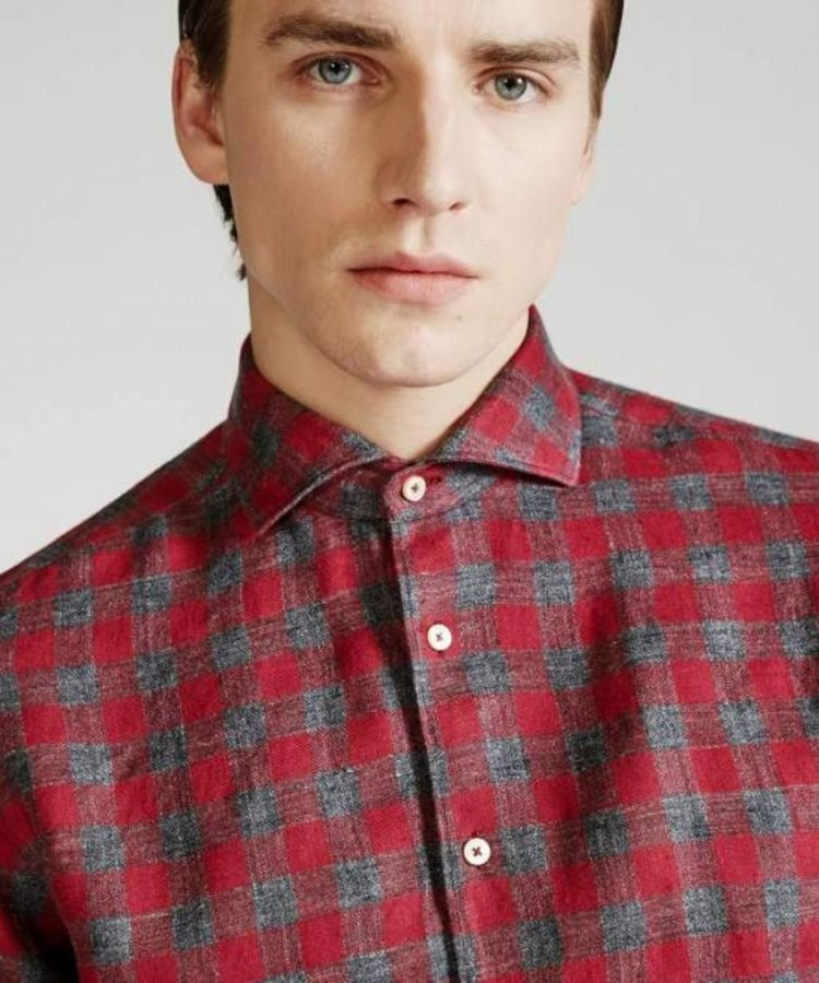 XACUS XACUS WASHED RED CHECKED LINNEN SHIRT