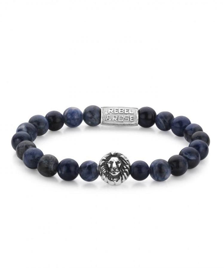 REBEL & ROSE REBEL & ROSE MIDNIGHT BLUE - LION HEAD - SILVER COLORED