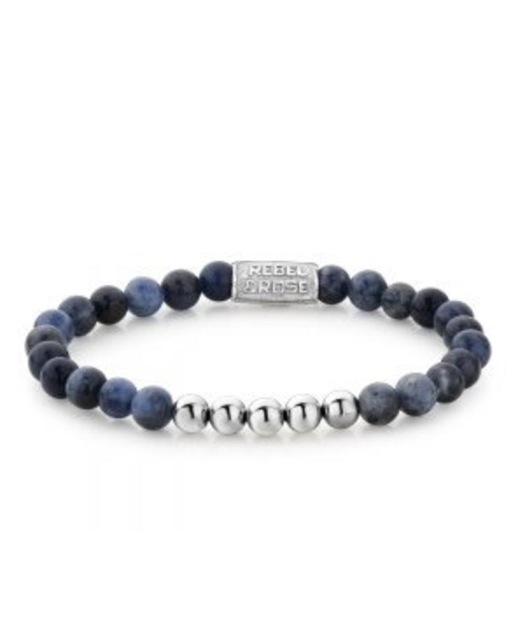 REBEL & ROSE REBEL & ROSE MIDNIGHT BLUE - MORE BALLS THAN MOST - 6 MM - SILVER COLORED