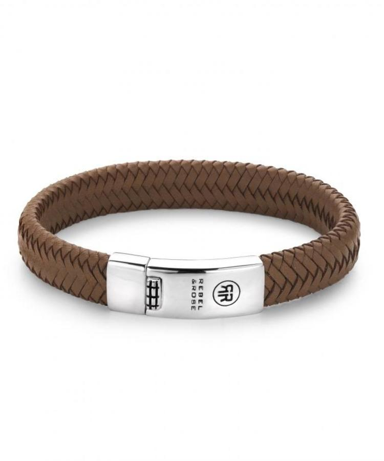 REBEL & ROSE BRAIDED OVAL HANDSOME IN KHAKI - ABSOLUTELY LEATHER