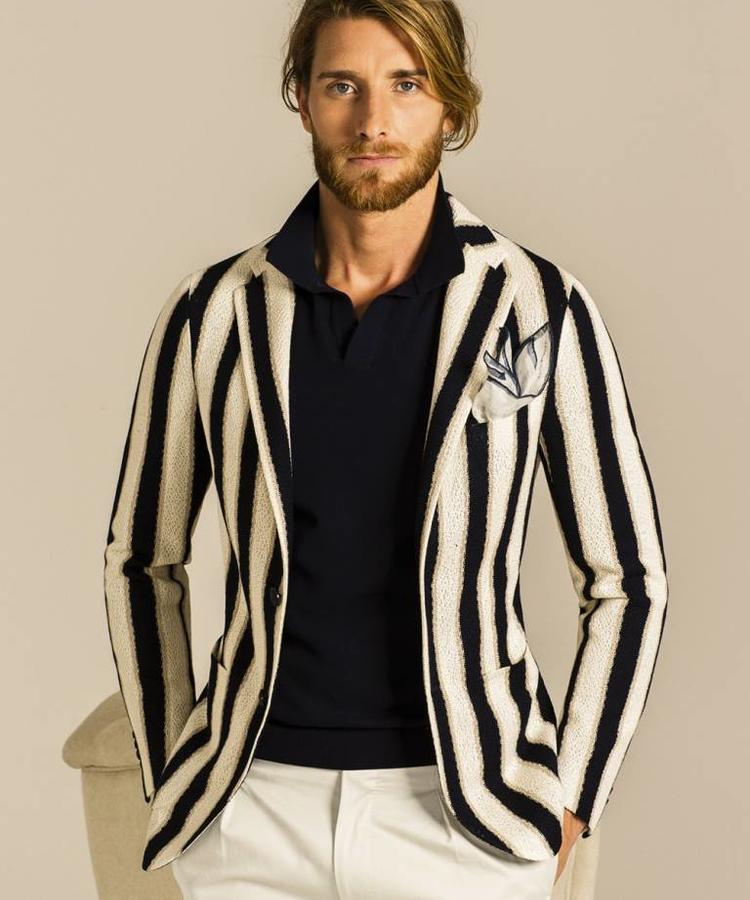 TAGLIATORE TAGLIATORE STRIPPED JERSEY COTTON JACKET