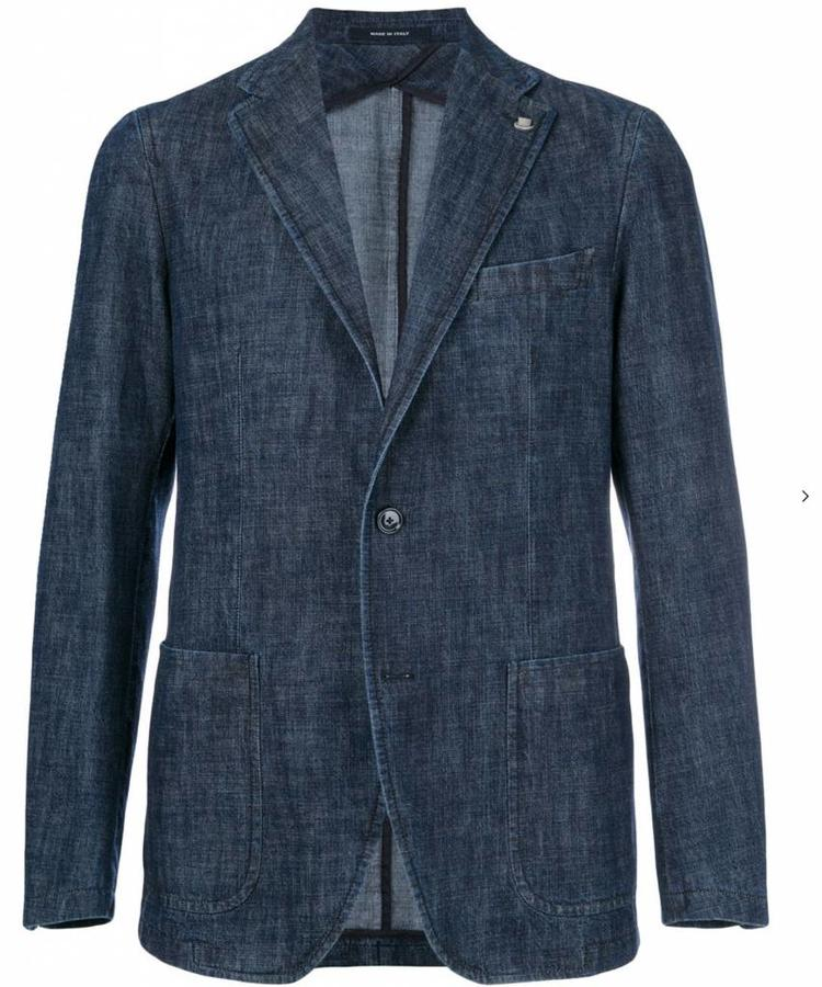 TAGLIATORE TAGLIATORE DENIM SINGLE BREASTED BLAZER