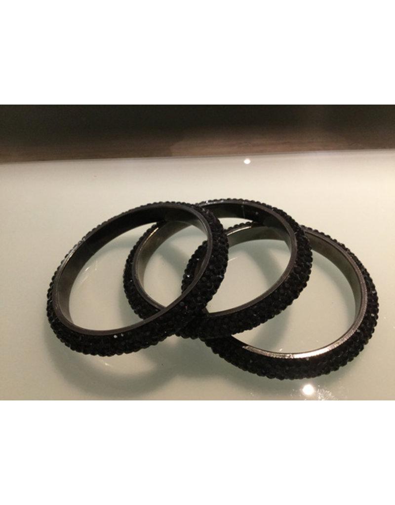 Gemini, black skinny bangle with crystals