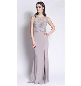 Frock N Fabulous Frock n Fabulous Beaded high neck dress with plain skirt & side slit