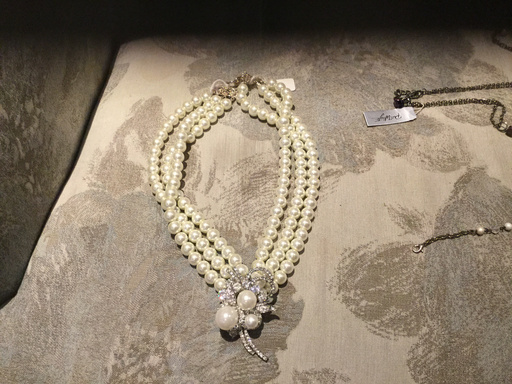 3 String pearl with diamonte and pearl Pendant