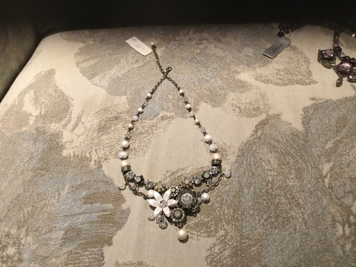 Pat Whyte necklace, Cream and silver pearl with flower detail