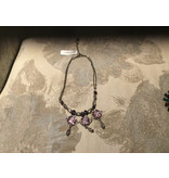 Pat Whyte Necklace , Silver and purple sstones with 3 purple pendants