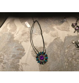 Designer Touch, necklace Black chain with teal and purple pendant
