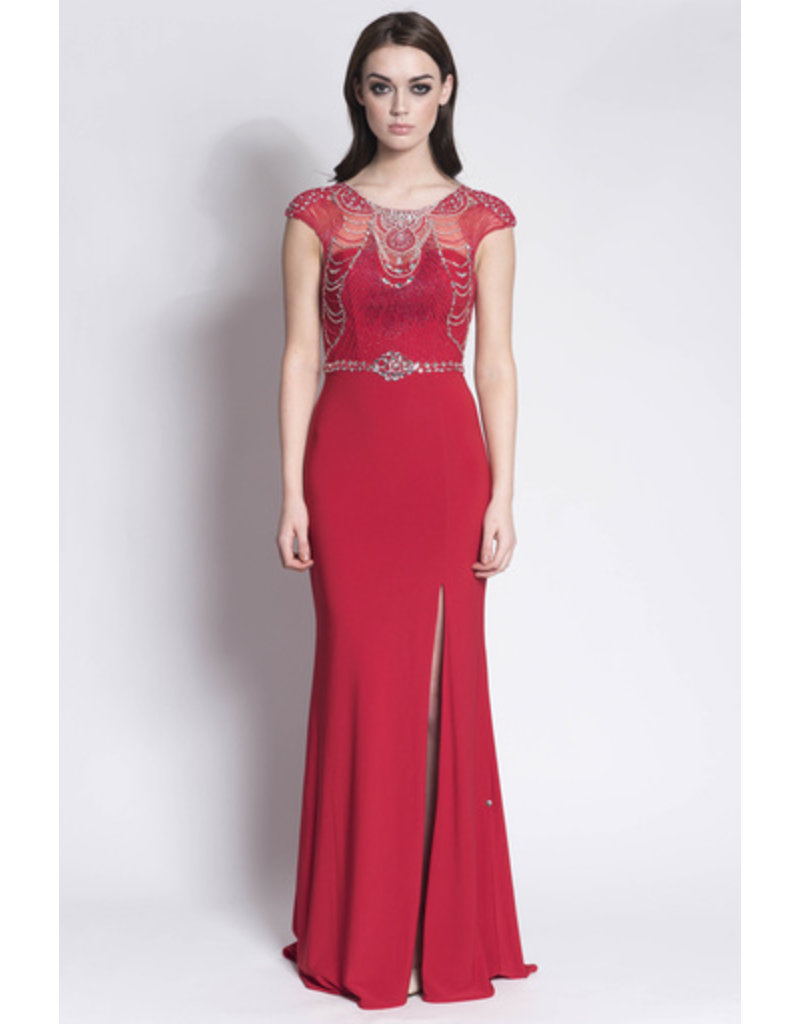 Frock N Fabulous Frock n Fabulous Beaded high neck dress with plain skirt & side slit