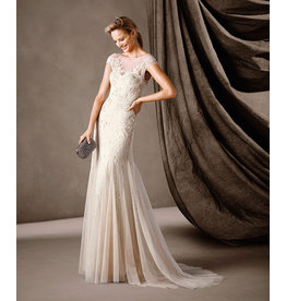 Pronovias Pronovias Celine Chantilly Lace Gown in biscuit with V Back size 8, Beige sand, 12