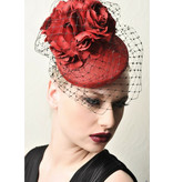 Fiona Mangan Fiona Mangan Red hat with Rose and black netting