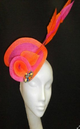 Pink and orange, Jennifer Wryne Millinery, E35 to hire ONLY