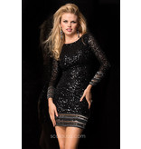 Scala Scala Sequin short dress with long sleeves, Rose, 10