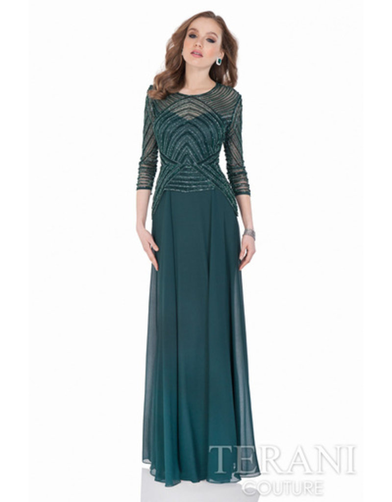 Sidney Leigh Terani green sequin gown
