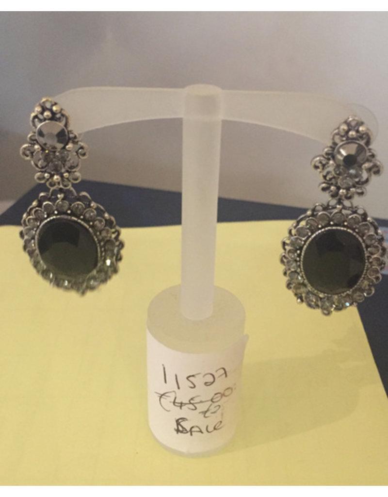 Large black stone drop earring