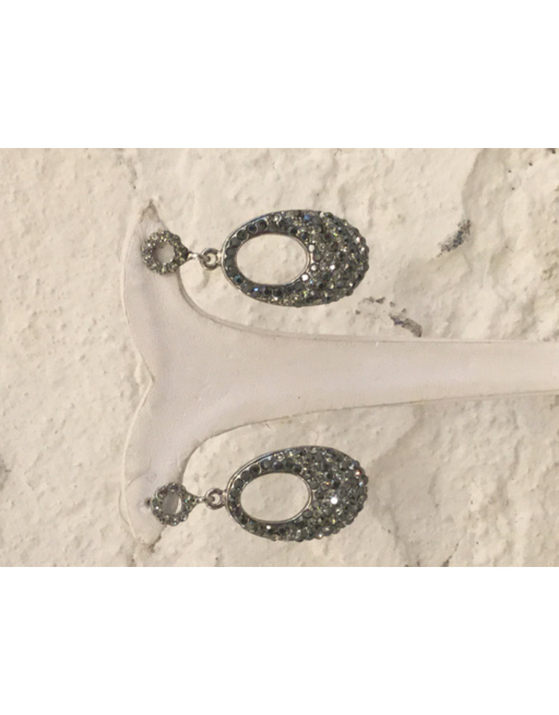Gemini grey and silver stone oval drop earring