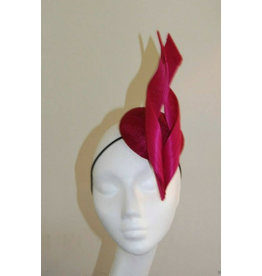 Aisling Ahern Aisling Ahern Millinery, Pink sinamay small button hat with one jinsing swirl.